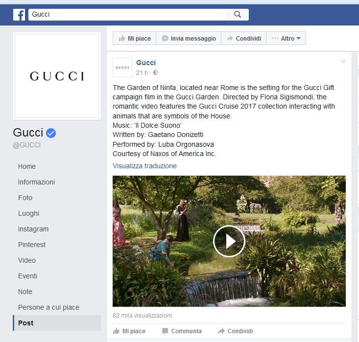 Gucci Facebook Ninfa